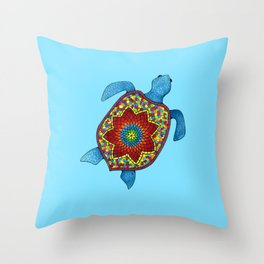Turtley Awesome Mosaic Turtle Throw Pillow