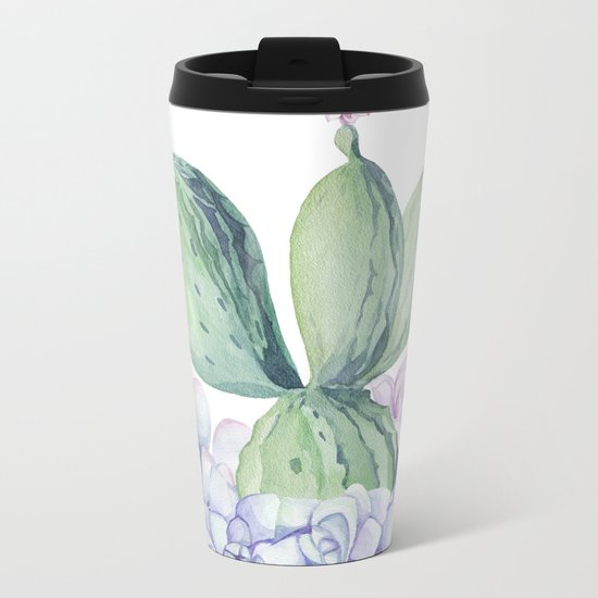 In Love Rose Cactus + Succulents Metal Travel Mug