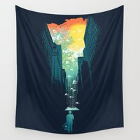wall clock Wall Tapestries featuring I Want My Blue Sky by Picomodi