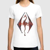 skyrim T-shirts featuring Skyrim Alduin by Rubis Firenos