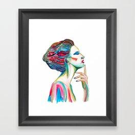 Colorful ink drawing of a women, ink art, girl illustration, modern women art Framed Art Print