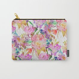 Elegant watercolor floral and dotted brush strokes Carry-All Pouch