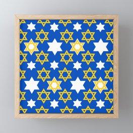 Hanukkah Gold & White Star Of David Blue Pattern Framed Mini Art Print