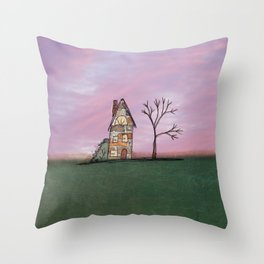 Little Brick House With Tree Throw Pillow