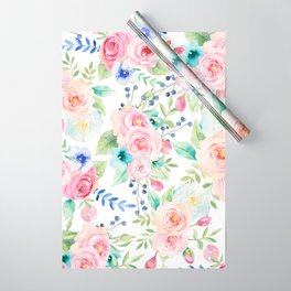 Blush pink watercolor elegant roses floral Wrapping Paper