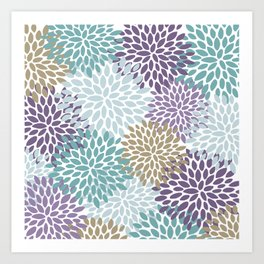 Floral Prints, Purple, Teal, Gold, Colour Prints Art Print