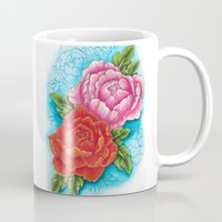 peonies Mugs featuring peonies by missfortunetattoo