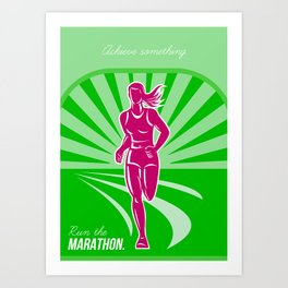 Female Run Marathon Retro Poster Art Print