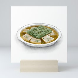 Watercolor Illustration of Chinese Cuisine - Steamed Stinky Tofu with Amaranth Stalk   霉苋菜梗蒸臭豆腐 Mini Art Print