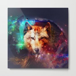 Colorful face wolf  Metal Print