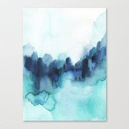 Wonderful blues Abstract watercolor Canvas Print