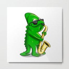 Chameleon saxophonist  cartoon illustration Metal Print