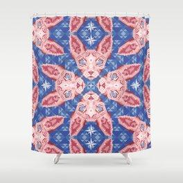 Sphynx Cat - Rose Quartz and Serenity version Shower Curtain