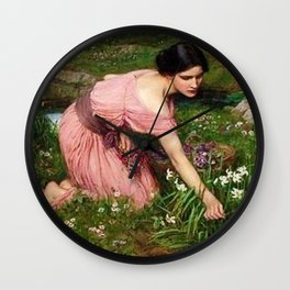 Spring Spreads One Green Lap of Flowers by John William Waterhouse Wall Clock