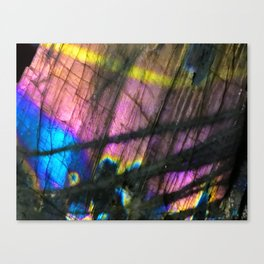 Labradorite and All it's Colors Blue Pink Yellow Purple Flash Magic Vibrant Abundance Canvas Print