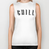chill Biker Tanks featuring Chill by Jessie Rose