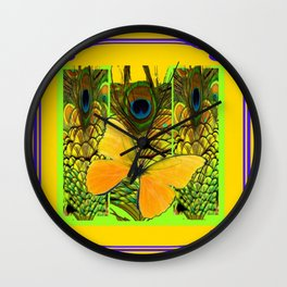 ART NOUVEAU YELLOW BUTTERFLY PEACOCK FEATHERS Wall Clock