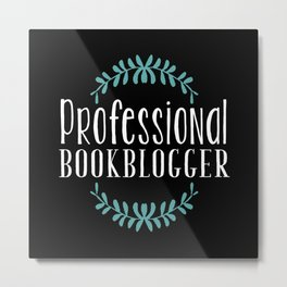 Professional Bookblogger - Black w Blue Metal Print