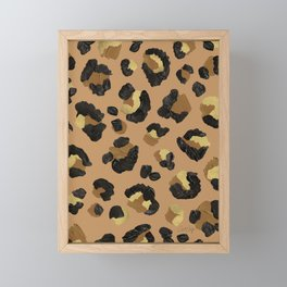 Leopard Print – Neutral & Gold Palette Framed Mini Art Print