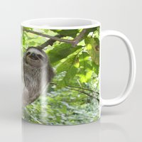sloths Mugs featuring Sloths in Nature by Amber Galore Design