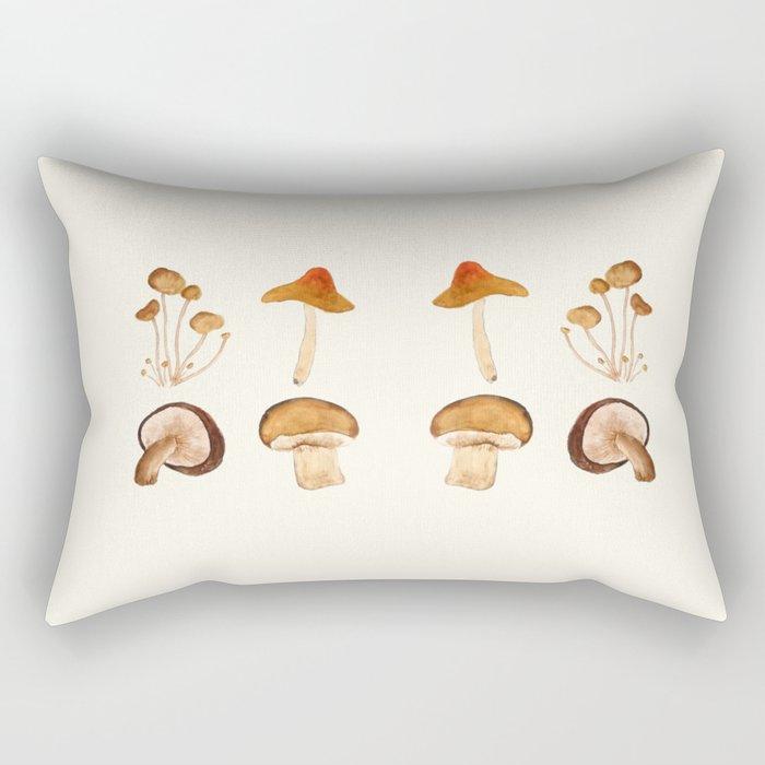 mushroom watercolor painting Rectangular Pillow