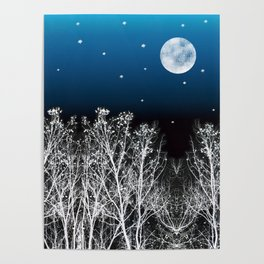 White Woods Moon Poster