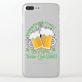 St Patricks Day Party Shirt Shamrock Beer Gift Idea Light Clear iPhone Case