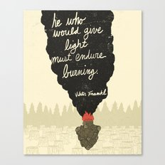 Endure Burning - Viktor Frankl Quote - wood heart Canvas Print