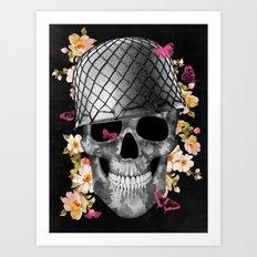 Skull Soldier Black Art Print