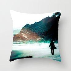 Ocean Beach Wanderlust - Blue Sea Oregon Adventure Throw Pillow