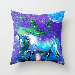 HORSE DANCING IN STAR LIGHT AND MOON DUST Throw Pillow