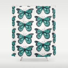 Turquoise Butterfly Shower Curtain