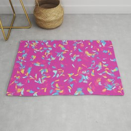 Abstract Colorful Lines And Feathers Art Retro Pattern Rug