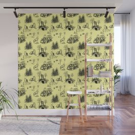 Eurasian Wolf Toile Pattern (Yellow and Black) Wall Mural