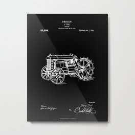 Henry Ford Tractor - Patent Technical Drawing Metal Print