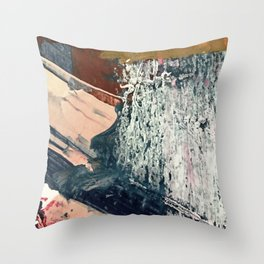 Kelly [2]: a bold, textured, abstract mixed media piece in fall colors/ blue, burnt sienna, ochre Throw Pillow
