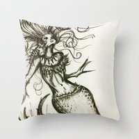 sassy Throw Pillows featuring Sassy Mermaid by OnceUponAWonderland