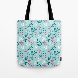 Assorted Leaf Silhouettes Teals Pink White Pattern Tote Bag