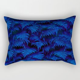 Deep Blue Fern Plant Wall Rectangular Pillow