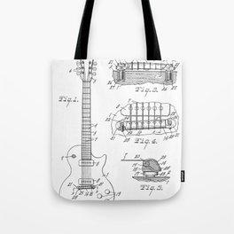Gibson Guitar Patent - Les Paul Guitar Art - Black And White Tote Bag