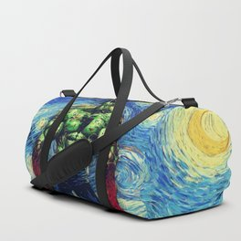 Angry Man in starry Night Duffle Bag