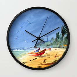 Sudden Storm at Maunabo Beach Puerto Rico Wall Clock