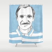 the grand budapest hotel Shower Curtains featuring Ralph Fiennes. The Grand Budapest Hotel.  by Elena O'Neill