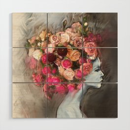 Flower Bloom Girl Wood Wall Art