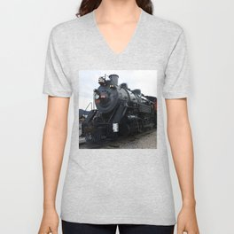 Vintage Railroad Steam Train Unisex V-Neck