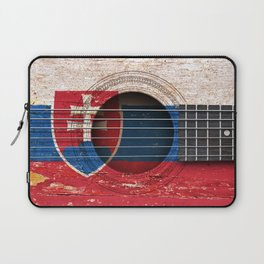 Old Vintage Acoustic Guitar with Slovakian Flag Laptop Sleeve