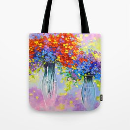 Music of multi-colored flowers Tote Bag
