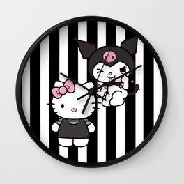 Hello Dark Kitty & Kuromi Wall Clock