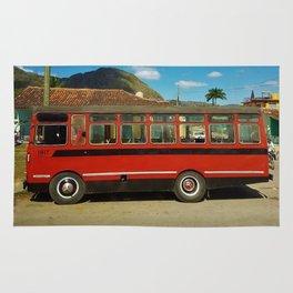 Bus in Vinales, Cuba Rug