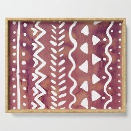 Loose boho chic pattern - purple brown Serving Tray